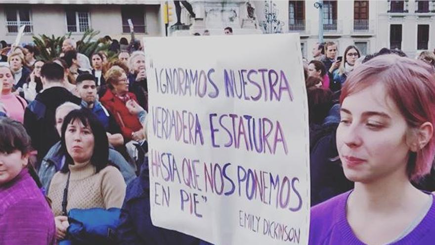 Victoria, cofundadora de la editorial, en la manifestación del pasado 8 de marzo.