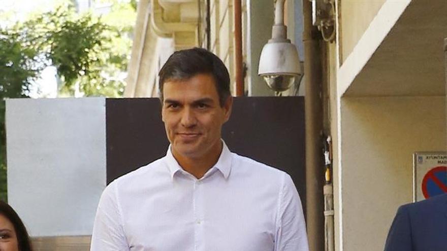 Pedro Sánchez a su llegada a Ferraz este miércoles.