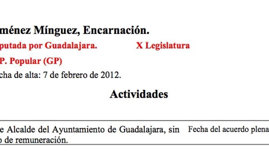 """Detalle de la declaración de actividades de Encarnación Jiménez, en la que asegura no percibir """"ningún tipo de remuneración"""""""
