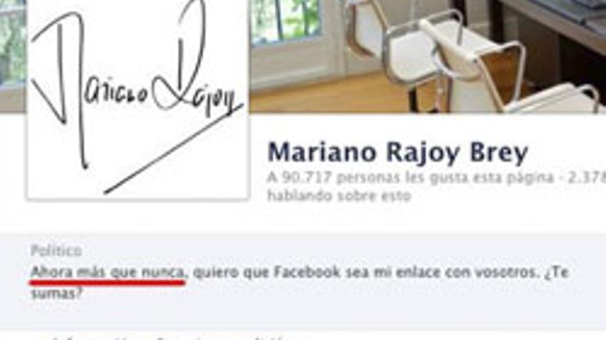Captura de la página de facebook de Mariano Rajoy