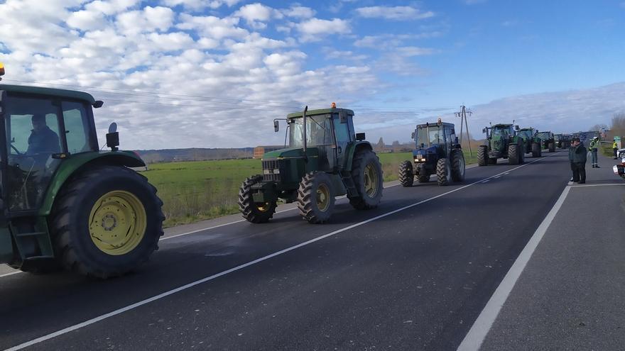 Más de 300 agricultores mantienen cortada la autovía EX-A1 a la altura de Coria (Cáceres)