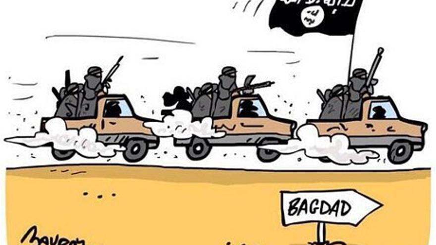 """Dibujo publicado en el canal de twitter de ISIS, con el título """"ISIS se dirige a Bagdad"""". 15 junio 2014."""