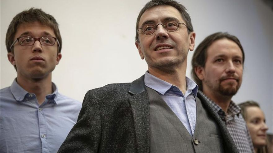 Íñigo Errejón, Juan Carlos Monedero y Pablo Iglesias. / Efe