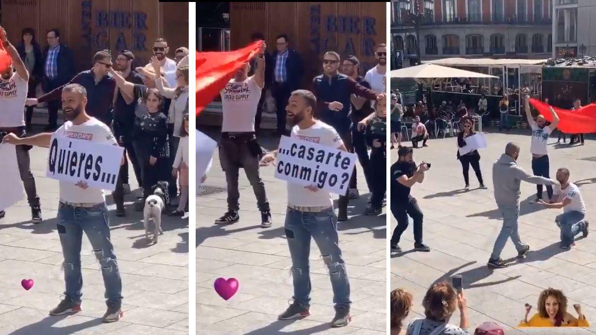 Fotogramas de la pedida de la Plaza de Pedro Zerolo | TW: @GASTAKO