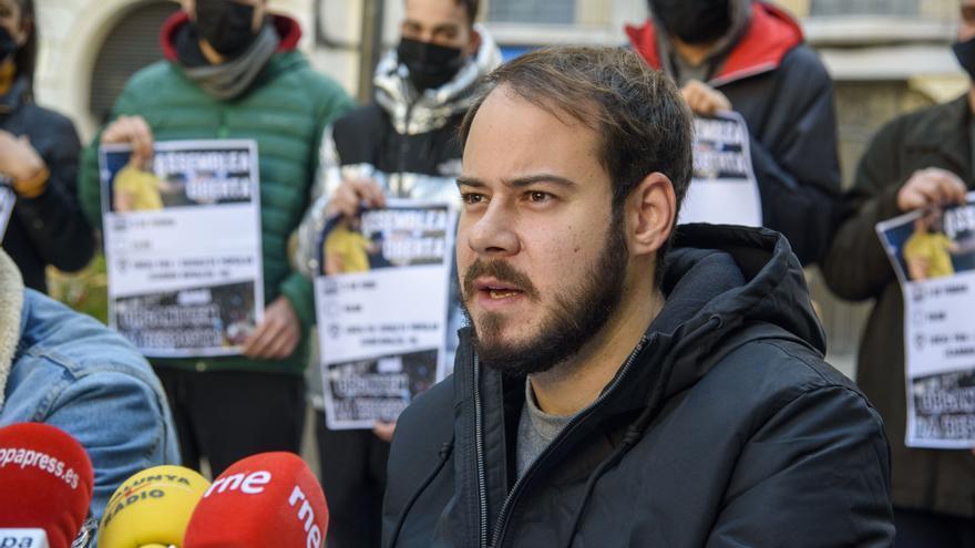 Pablo Hásel, durante la rueda de prensa de este lunes en Lleida