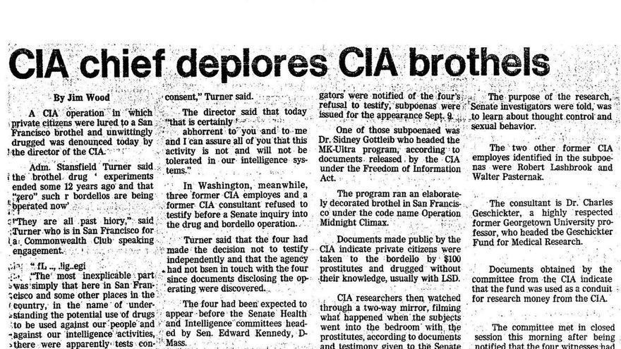 Recorte de prensa en el que la CIA reconoce el uso de burdeles para el programa MKULTRA