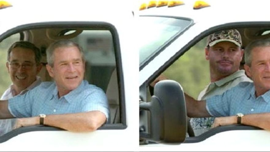 A la izquierda la fotografía real de George Bush y a la derecha la manipulada para el artículo de Slate.