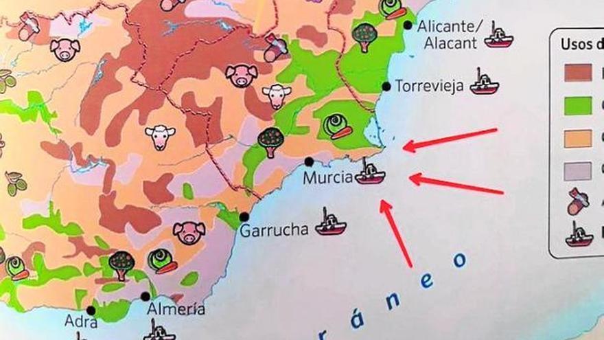 Mapa erróneo con Murcia en el litoral en el lugar de Cartagena
