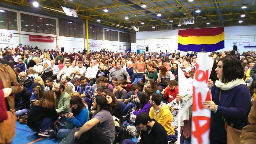 Mitin de IU-UP en Sevilla el 16 de diciembre de 2015.