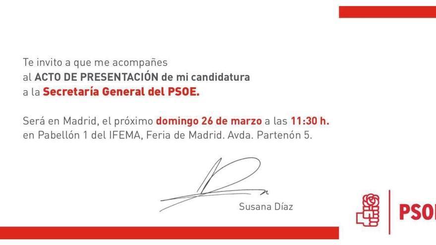 La invitacion de Susana Díaz a la presentación de su candidatura.