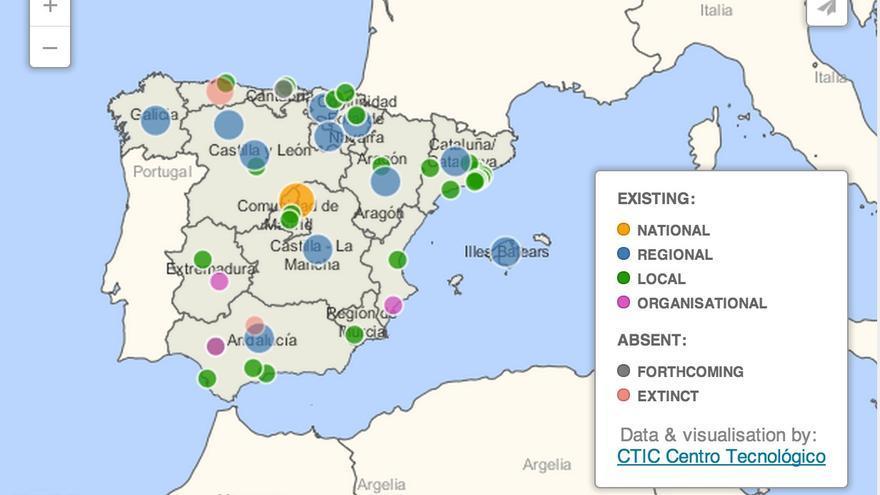 Mapa actual de las iniciativas Open Data en España - CTIC