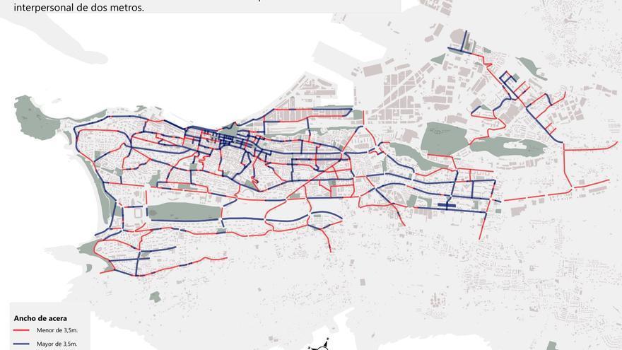Mapa de aceras de Santander según si permiten o no mantener la distancia interpersonal.
