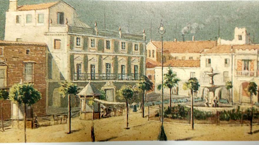 Plaza de España, Mérida, en un cuadro de Felipe Trigo, principios del siglo XX