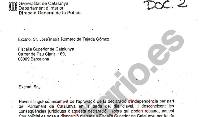Carta de Trapero al por entonces fiscal superior de Catalunya tras la DUI