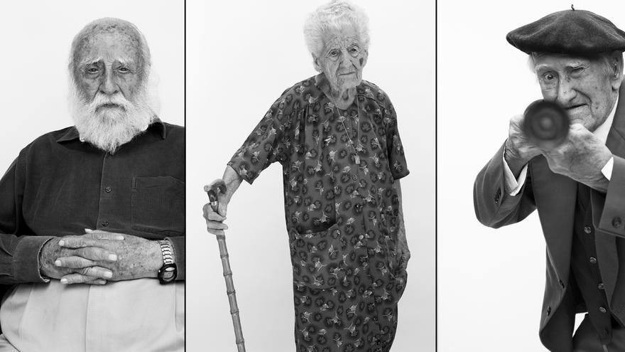 De izquierda a derecha: Virgilio Fernández del Real, Juana María Sánchez Rubio y Baltasar Delgado, combatientes y testigos de la Guerra Civil española