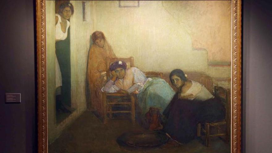"""Cuadro """"Vividoras del amor"""", de Julio Romero de Torres, cedido durante cinco años por la Fundación La Caja de Canarias a la Casa de Colón.  EFE/Elvira Urquijo A."""