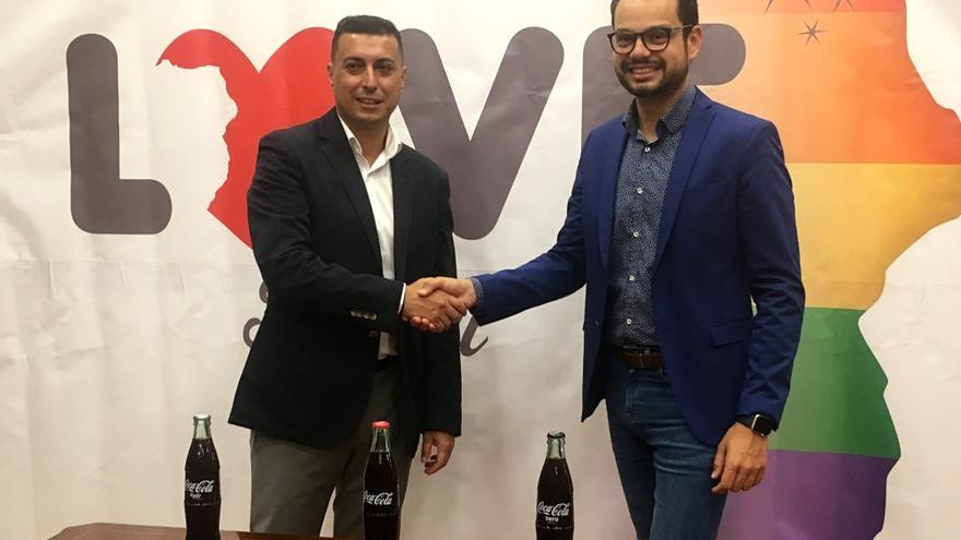 Víctor Morales, responsable de comunicación y relaciones institucionales de Coca Cola European Partners, y Jordi Pérez Camacho, consejero de  Desarrollo Económico del Cabildo y consejero delegado de Sodepal.