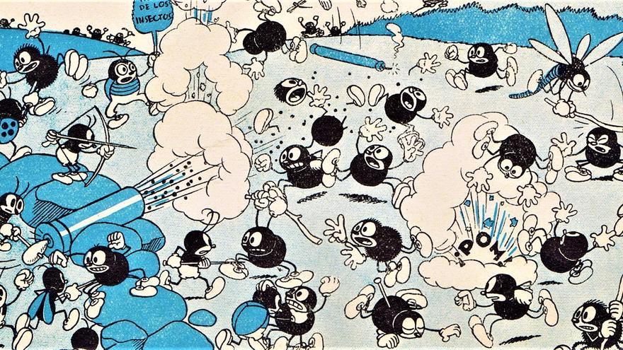 Viñeta de 'Guerra en el País de los Insectos', profética historieta de Cabrero Arnal. Cortesía de Dionisio Platel