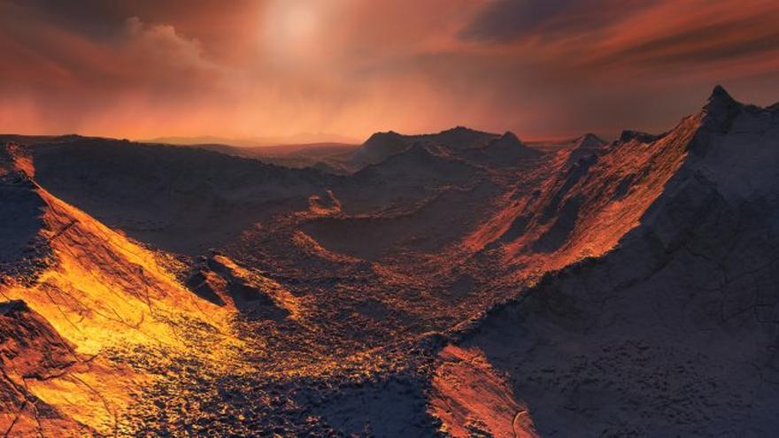Imagen artística del planeta de la estrella de Barnard bajo la luz teñida de naranja de la estrella. Crédito: IEEC / Science-Wave - Guillem Ramisa Licencia: Creative Commons with Attribution, https://creativecommons.org/licenses/by/4.0/