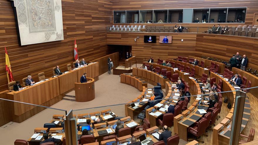 El hemiciclo de las Cortes de Castilla y León, durante la presentación de la PNL de Vox para derogar el Decreto de Memoria Histórica