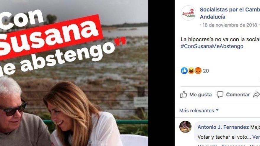Campaña de publicaciones en Facebook que pidió la abstención contra Susana Díaz en las elecciones andaluzas de 2018, que varias fuentes atribuyen al consultor Aleix Sanmartín.