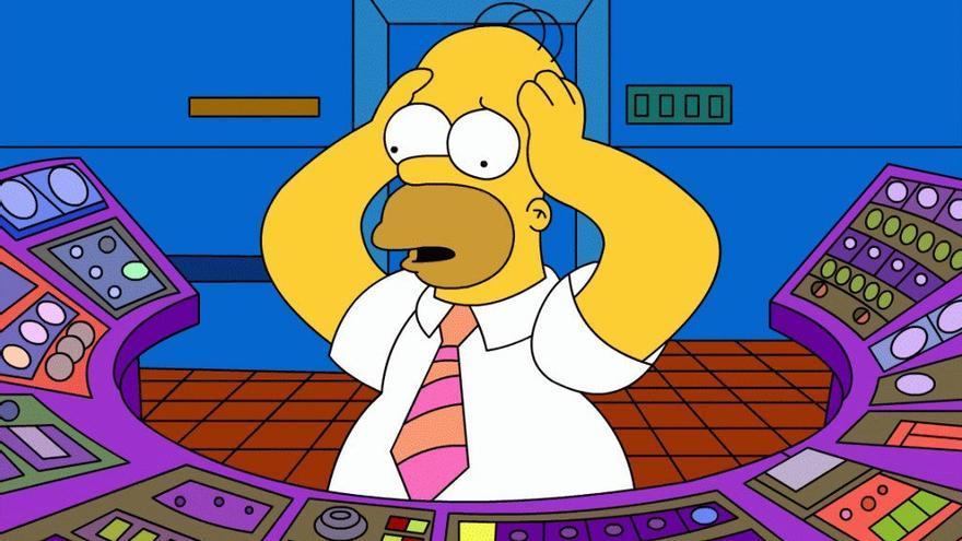 Homer Simpson en la central nuclear de Springfield.