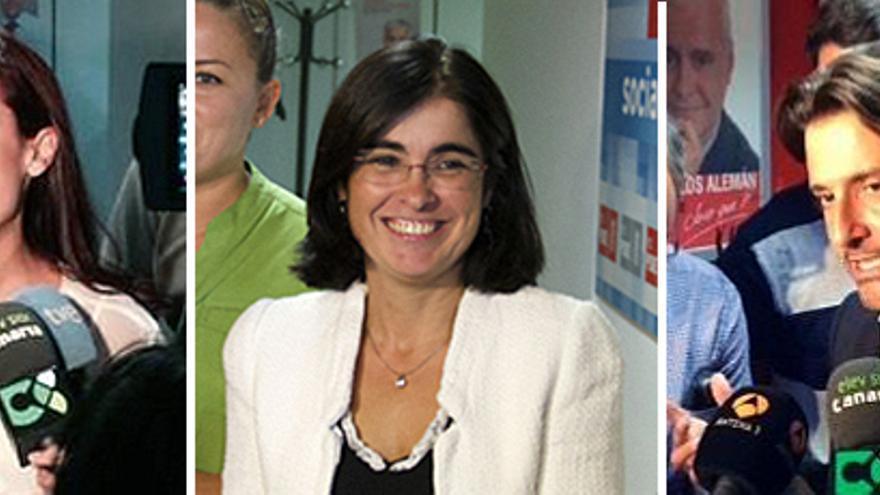 Patricia Hernández, Carolina Darias y Gustavo Matos durante la presentación de avales.