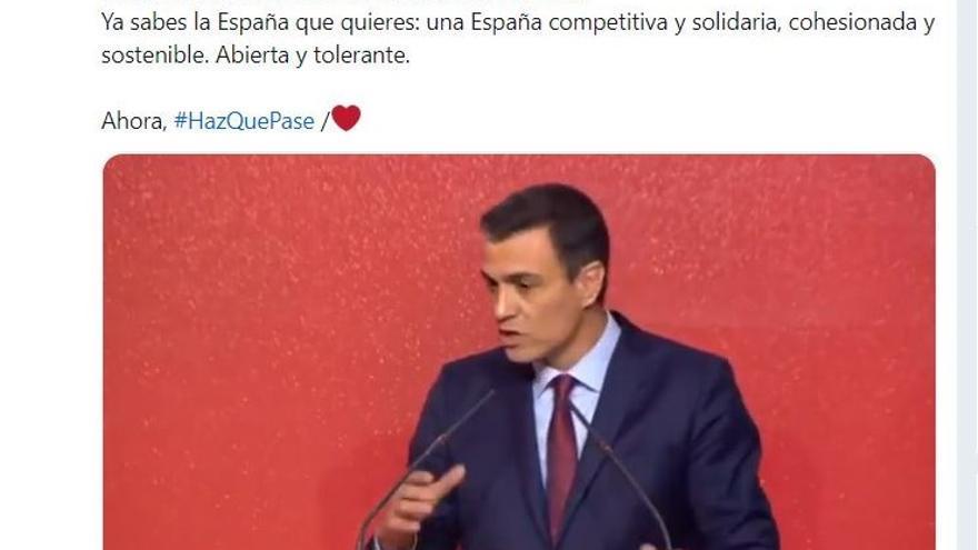 Pantallazo del retuit del Ministerio de Justicia de la cuenta de Pedro Sánchez donde lanzaba su campaña.