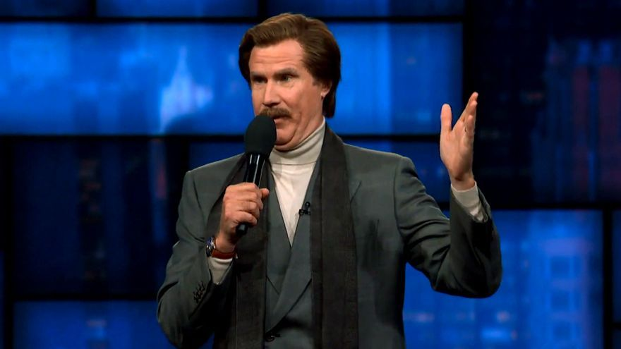 Will Ferrell como Ron Burgundy en 'The Late Show with Stephen Colbert'