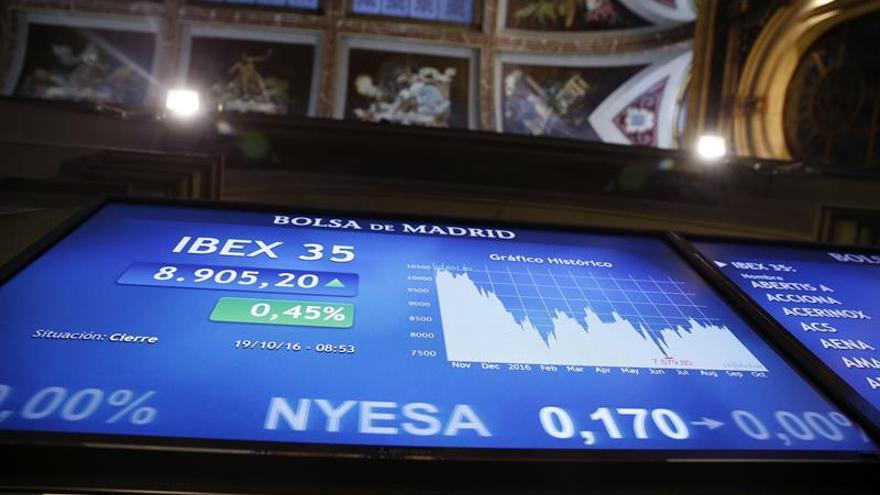 La bolsa española sube el 0,1 % a mediodía y se acerca a 8.900 puntos
