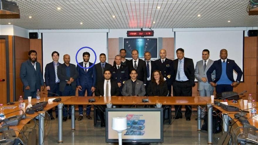 La foto oficial de la reunión en la Guardia Costera en Roma. Bija es el cuarto desde la izquierda.