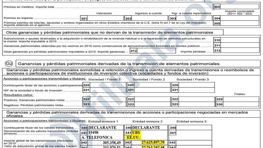 Fragmento del borrador de Declaración Complementaria de IRPF cumplimentado por Francisco Elías de Tejada