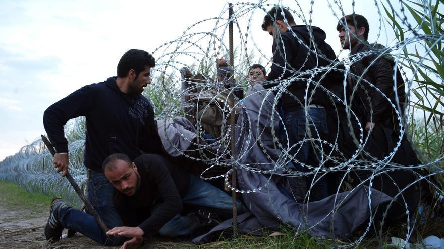 Refugiados sirios entran en Hungría por debajo de la valla de la frontera húngara, cerca de Roszke. 26 de agosto de 2015/ Ap - Bela Szandelszky