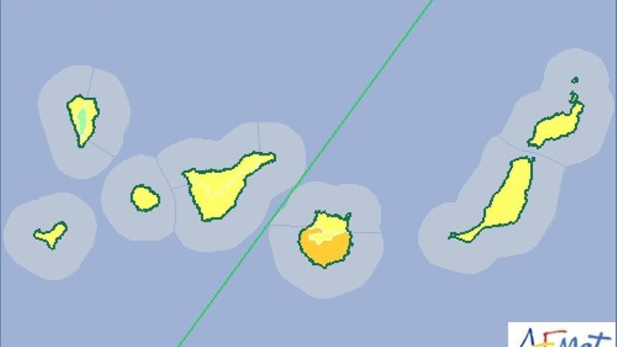 Mapa de la Aemet de aviso de riesgo por altas temperaturas para este miércoles, 8 de julio.