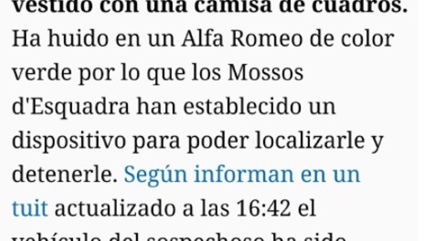 Noticia de 'El Español' sobre el ataque de Gavà.