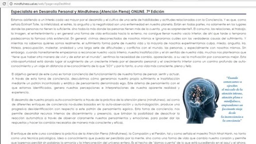 Captura de pantalla de la cabecera de la web del curso