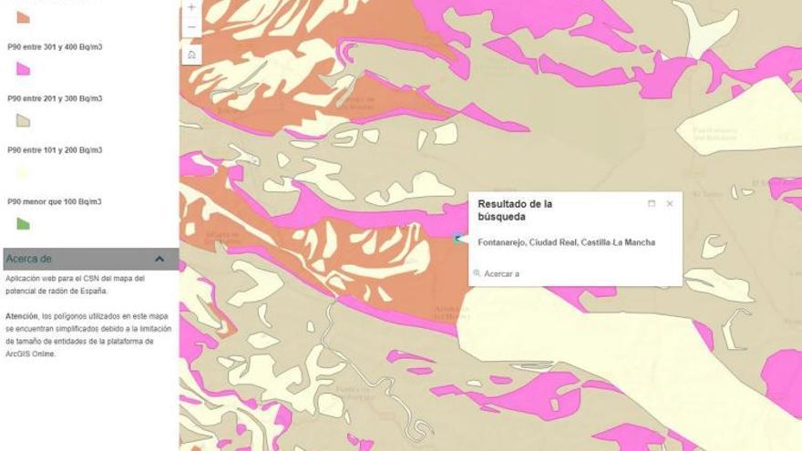 Mapeo de gas radón en la zona