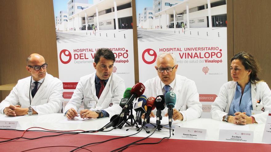 Un momento de la rueda de prensa en el Hospital del Vinalopó