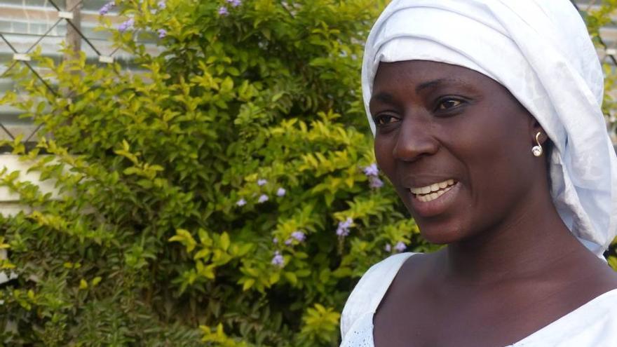 La activista gambiana Fatoumata Jawara, este jueves en el debate de CajaCanarias