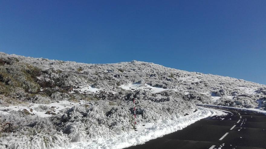 Imagen del entorno del Roque de Los Muchachos, en Garafía, situado a más de 2.400 metros de altitud,  captada el martes.