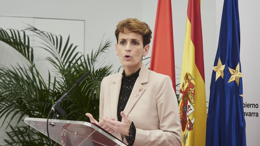 Archivo - La presidenta del Gobierno de Navarra, María Chivite interviene en el Palacio de Gobierno de Navarra, Pamplona, Navarra (España), a 5 de marzo de 2021