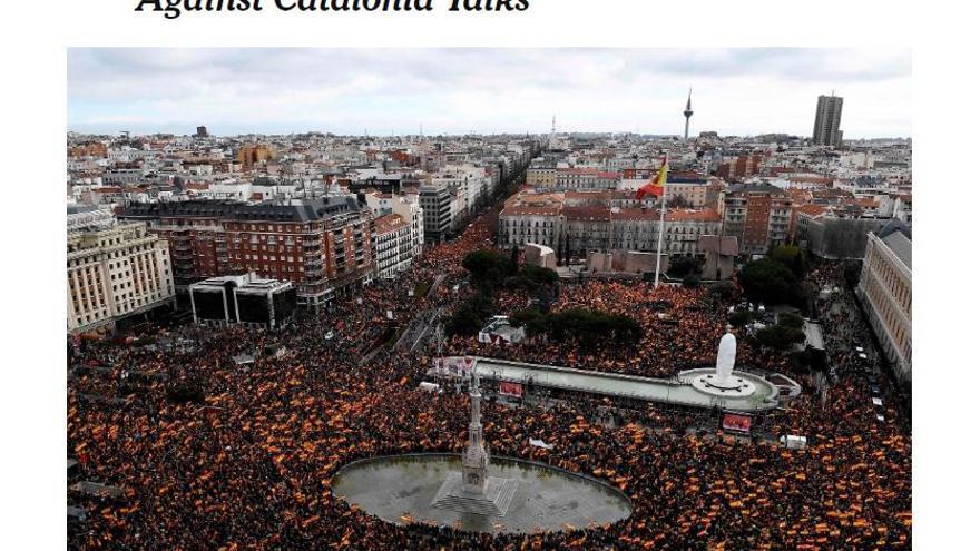 """""""Miles protestan en España contra el diálogo con Catalunya"""", en 'The New Yotk Times'"""