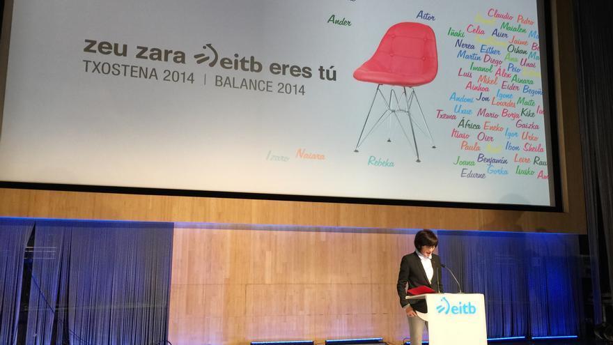 La directora general de EiTB, Maite Iturbe, durante la presentación en enero de la nueva programación del ente.