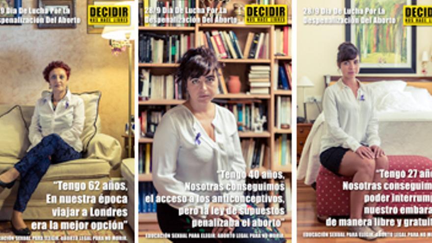 La campaña de la Plataforma Estatal en Defensa de los Derechos Sexuales y Reproductivos de cara al 28 de septiembre muestra a cinco mujeres de diferentes edades que presentan la evolución del derecho al aborto en España