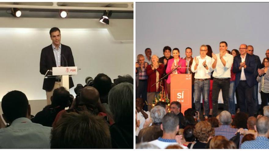 Pedro Sánchez el día de su dimisión (izquierda) y en uno de los últimos actos de su precampaña (derecha).