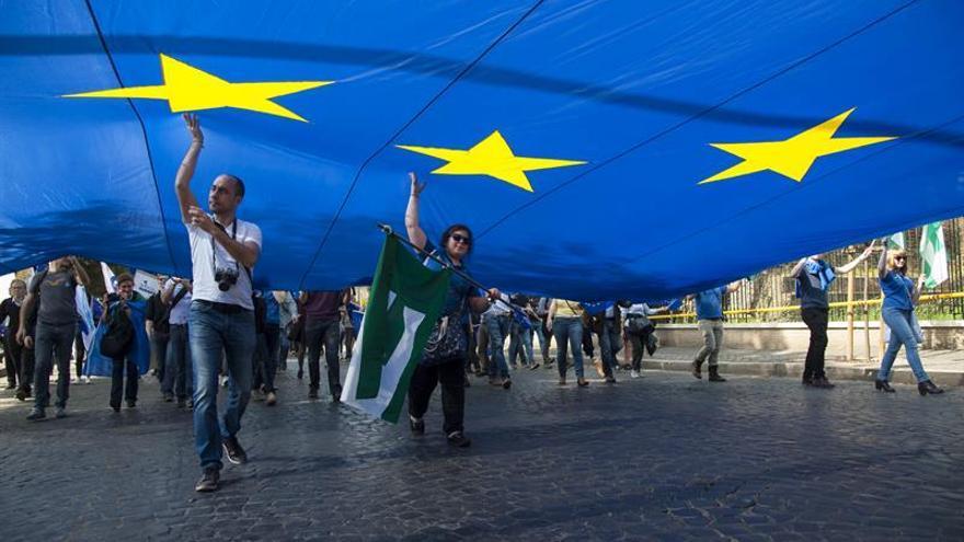 Una marcha en favor de la Unión Europea en Roma
