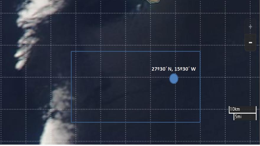 Imágen de la zona de la  mancha de gasoil desde el satélite de la NASA