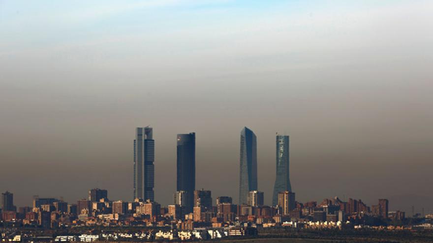 Imagen de la 'boina' de contaminación de Madrid.