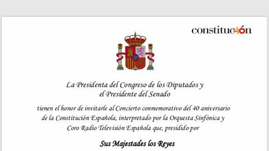 La invitación al concierto por los 40 años de la Constitución.