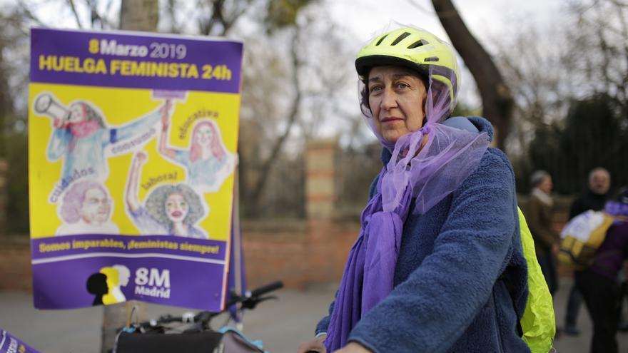 La bicicletada feminista del 8M en Madrid. Olmo Calvo.